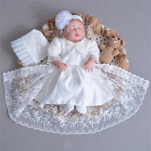 0-1 Año Baby Girl Vestido de cumpleaños Party Vestido de bautizo para el bautismo Infantil Recién nacido Llena Llena Cientos días Ropa 3 unids / Set Z1214