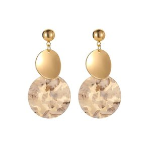 European Geometric Round Dangle Earring Retro Ancient Gold Floral Circular Stud Earrings Women Acrylic Alloy Ear Jewelry