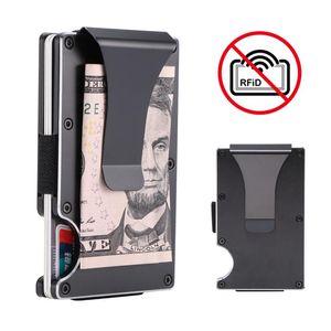 Metal Metal Mini Money Clip Fashion Protection Bank Card Case Anti-theft men business cards wallet Blocking