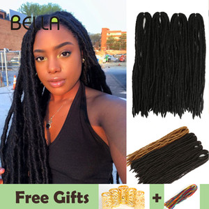 Bella Dreadlocks Extensiones de cabello Crochet Hair Black Brown Synthetic Hair 60 Strands Dreadlock para mujeres y hombres 20 pulgadas Hecho a mano Q1127