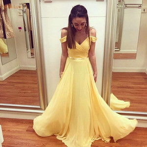 Cheap Simple New Elegant Light Yellow Chiffon A Line Prom Dresses Spaghetti Straps Off Shoulder Formal Dress Evening Party Gowns Vestidos