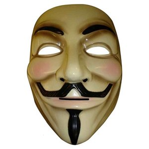 Halloween Vendetta Guy anonymous Fawkes mask of fancy dress costume white yellow 2 colors