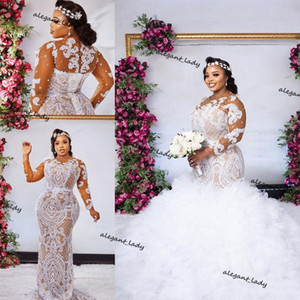 Plus Size Mermaid Lace Wedding Dresses with detachable train Long Sleeves Beaded african Bridal Gowns Sweep Train robe de mariée