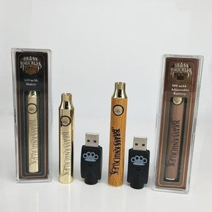 Brass Knuckles Pen Thick Oil Vape Pen Battery 650mAh 900mAh Variable Voltage Preheating O Pen Vapor Battery In Silver Gold Wooden Color