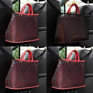 Retiküler Saklama Torbaları Örgü Bezler Net Cep Araba Sandalye Kılıfı Kırmızı Siyah Dikdörtgenler Çok Fonksiyonları 7 5KN L2
