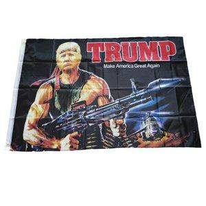Modèle de fusillade créative Tank américain suspendu 150 * 90 Drapeau de Trump pour le président USA Y0105