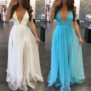 Women Summer BOHO Dress Sleeveless Backless Maxi Long Evening Party Dress Beach Sundress White Blue