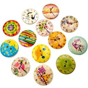 Notions vintage relógio de madeira acessórios de costura botões 2 furos scrapbooking artesanato para sacos de roupa