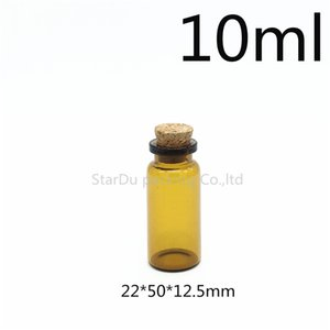 Free Shipping 1000pcs 10ml Small amber Glass Bottle Jars with Cork Lid, Vials Containers Wishing,Cosmetic Packaging