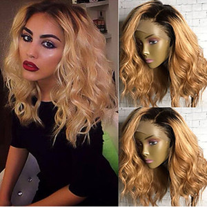 High Quality Cheap Ombre 1B 27# Short Bob Curly Wavy Heat Resistant Synthetic Lace Front Wigs for Black Women