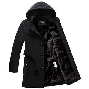 Winter Plush warm coat plus bulky men's casual medium length windbreaker slim trend coat