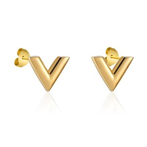 Shenglin Exquisite V Pattern Stud Earrings for Women Man High Quality Titanium Steel Earrings Piercing Jewelry Gift