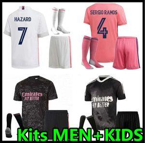 2020 2021 Real Madrid Soccer Jerseys Kits Peligro Benzema Sergio Ramos Modric 20 21 Camisa de fútbol Camisetas Benzema Rodrgo Men Kit Kit