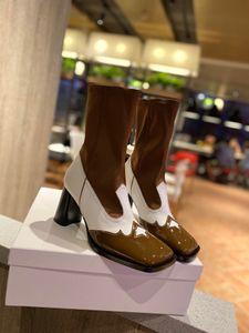 2020SS fashion women high heel boots Colorblock leather design botas de mujer de diseño de lujo ladies sock booties#1F