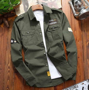 2020 New Men's Military Shirts Long Sleeve Casual Business Slim Army Cotton Tops