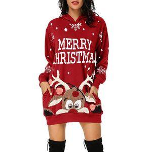 Plus Size Winter Christmas Woman Party Dress Women's Fashion Christmas Hoodie Bag Hip Pocket Print Hoodie Fashion Dress Vestidos