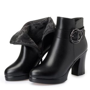New Fashion Single Autumn Boots Women Shoes Boots 2020 Winter Inside Plush and Wool Warm Snow Thick with High Heel