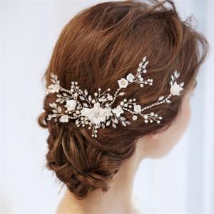 Npason Charming Braut Blumenhaare Vine Perlen Hochzeit Kamm Haarstück Zubehör Frauen Prom Kopfschmuck Schmuck W0104