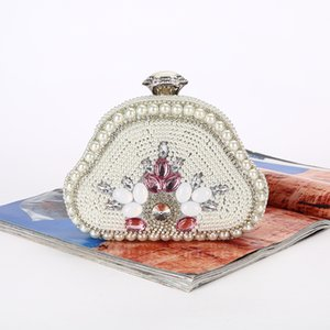 Hot Fashion Rhinestone Pearl Dinner Evening Party Bag for Ladies Dress Banquet Bag Chiain Clutch Purse