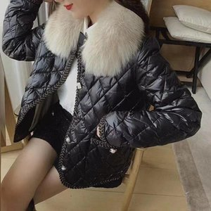 Fur Collar Stylish Warm Down Jacket Women's New Winter Street Style Light And Thin White Duck Down Short Coat S-L