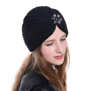 Bohemian winter style flower belt hole knitting wool hat participants in Europe and the United States wind turbans