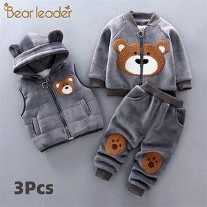 Bear Leader Baby Boy's Vêtements Coton Costume Chaud Suit Cartoon Plus Velvet Pull rembourré Pull Baby Girl Giled Vest Three-Piece 201020
