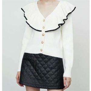 TRAF Women 2020 Fashion Bull Button Ruffle Breve maglia maglione retrò manica lunga giacca streetwear
