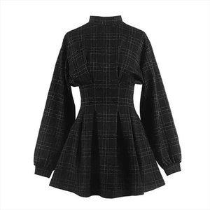 2020 Spring Women Vintage Mini Dress Long Sleeve Plaid A lined Punk Style Gothic Dresses for Goth Girls Female Retro High Waist