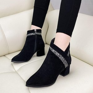 Fashion Women's Boots Pointed Toe Shoes Zip Kid Suede Leather Solid Color Shoes HOT Ankle Boots For Women Square Heel