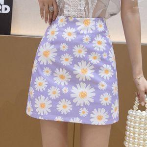 Women Korean Floral Print Mini Skirt Summer Plus Size Woman Short Skirts with Shorts High Waist A-line Daisy Flower Sweet Skirt1