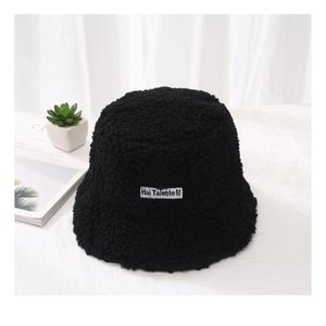 Fashion Winter Hat For Women Fur Bucket Warm Caps Letter Panama Black White Vintage Fisherman Buc jllHkR