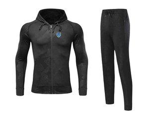 20-21 Troyes AC Jacket Soccer Jersey Pant Home Uniform Adult Football Set winter tracksuit men warm suits