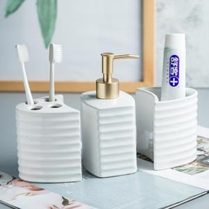 Ceramic Sanitary Ware Wash Set Minimalist Bathroom Amenities Home Decoration Model Room Accessories Toilet bathroom brush holder