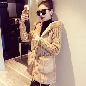 Women Hooded Winter Warm Jacket Loose Knitted Plush Jacket Winter Thick Outerwear Coat Ladies Casual Coats Pocket