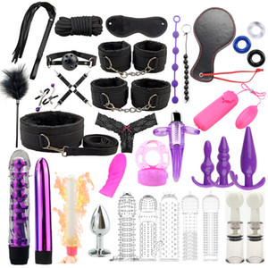 35 Pcs set Sex Products Erotic Toys for Adults BDSM Sex Bondage Set Handcuffs Dildo Vibrator Anal Plug Whip Sex Toys For Couples Y201118