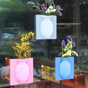 Silicone Sticky Vaso Mágico Flor de Borracha Vasos Flor Recipiente para Vasos de Parede de Escritório Decoração Decoração DHE3155