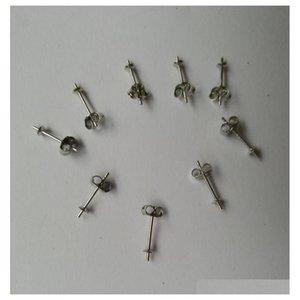 2 paires (4 pièces) / Set Sterling Silver 4mm Boucles d'oreilles Post | Boucles d'oreilles Établissement Coupe Pearl avec Sécurité Barreuse Dos D7UCR