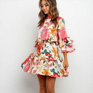 Boho Beach Summer Flower Sundress Women Long Sleeve Ruffles Floral Mini Dress Elegant Ladies Evening Party Club Dames Dresses