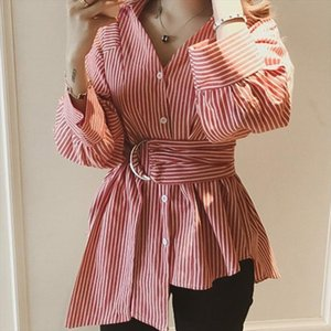 Autumn Korean Ulzzang Womens Plus Size V Neck Tops And Blouses Ladies Casual Oversized Long Sleeve Striped Shirts Blusas Mujer
