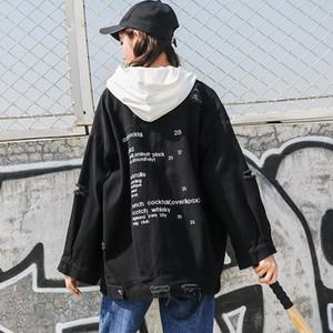 Женские Куртки Вышивка Письмо Базовая Джинсовая Куртка Женщины Весна Осень Корейский Свободный Большой Размер Пальто BF Hole Harajuku Jacka Jeans F343