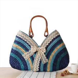 Fashion Bohemia Summer Women Lace Bow Straw Weave Rattan Handbag straw Beach Bag Woven Shoulder Tote Shopping Beach Bag
