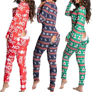 Europe and America 2020 New women fashion autumn and winter button flip adult pajamas printed Christmas long sleeve housewear Jumpsuit