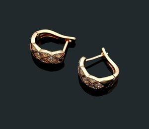 Luxury fashion jewelry C letter plaid diamond stud earrings Ms. plaid full diamond ear clip love99