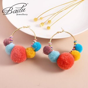 Badu Exaggeration Plush Fur Ball Circle Candy Color Hoop Earring for Women Personality Simple Handmade Pendant Earing Jewelry1