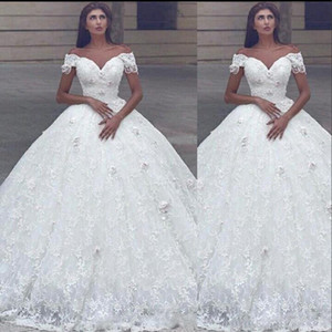 New Arabic Ball Gown Wedding Dresses Off Shoulder 3D Flowers Full Lace Beads Princess Floor Length Puffy Plus Size Formal Bridal Gowns