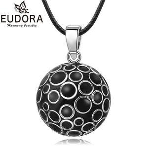 EUDORA 22mm Sound Mexican Bola Harmony Chime Ball Black Bubble Pregnancy Pendant Necklace for Women Fashion Jewelry Gift