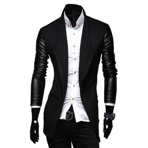 2020 New Arrival Mens Long Trench Coat The Sleeves Is Leather Slim Fit Style Trench Coat Men Plus Size M-XXL