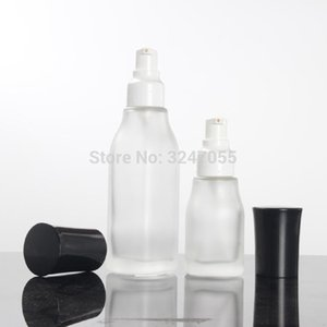 10pcs lot 50G Glass Cosmetic Cream Jar, Empty 120 100 40ml Frosted Glass Lotion Pump Bottle, Makeup Beauty Foundation Vials