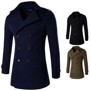 Uomo Navy Blue Woolen Coat Manica lunga Doppio petto Inverno Oversized Trench Long Coat Mens OverCoat Lana Ventola 4XL