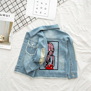 Baby Jacket Winter Clothes Baby Girls Jeans Jacket Autumn Sequins Hole Kids Jacket Coat Teenager Outerwear Clothes 8 10 12 Years 201118
